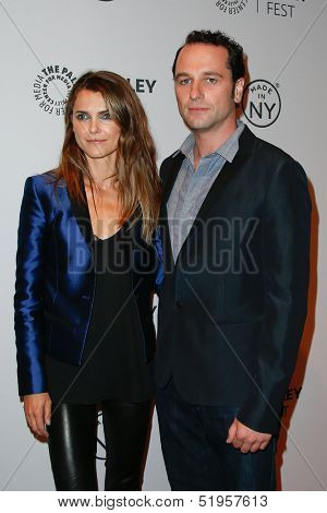 NEW YORK-OCT 4: Actors Keri Russell (L) and Matthew Rhys attend 'The Americans' during 2013 PaleyFest: Made In New York at Paley Center for Media on October 4, 2013 in New York City.