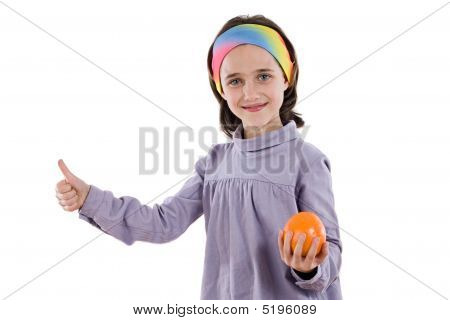 Adorable Girl With One Orange Saying Ok
