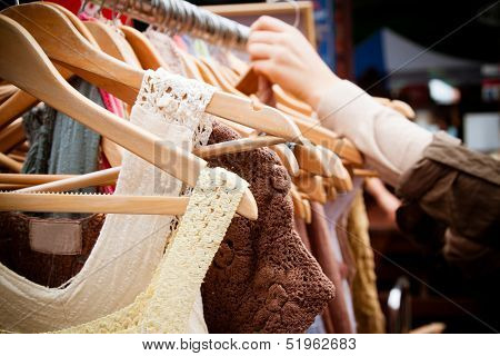 Rack of second-hand clothes at market