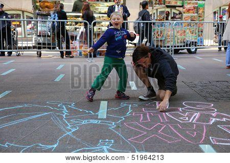 Kids supervise art at Zuccotti Park