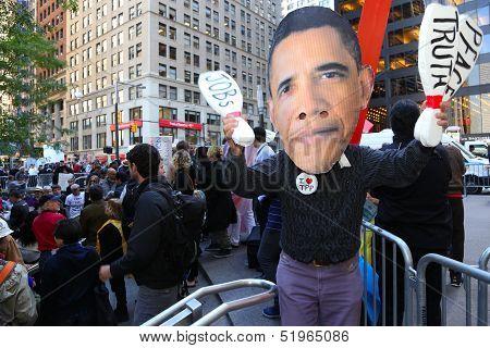 Giant Obama mask at Zuccotti Park