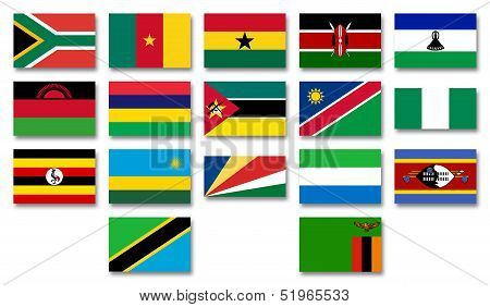 Flags of african menbers of the Commonwealth of Nations