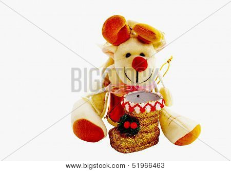 Cuddly Toy With Gold Christmas Boot
