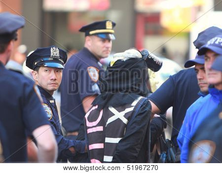 NYPD Leading Costumed Marcher into Custody