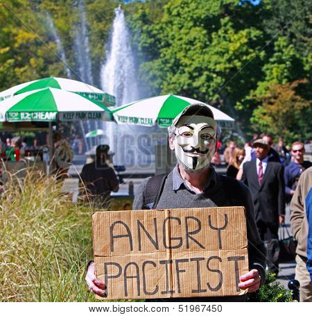 Guy Fawkes is an Angry Pacifist at Washington Square Park