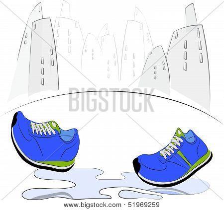 Sneakers Walking Through Puddle