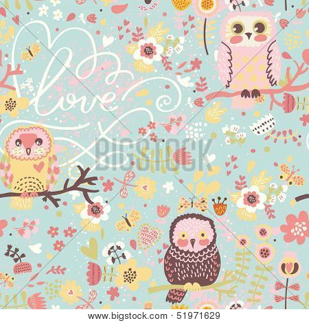 Bright spring seamless pattern in pastel colors. Cute owls on branches in butterflies and flowers in vector. Seamless pattern can be used for wallpapers, web page backgrounds,surface textures
