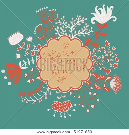 Bright floral card with textbox in vector. Vintage background made of flowers in cartoon style