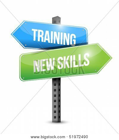 Training New Skills Road Sign Illustration Design
