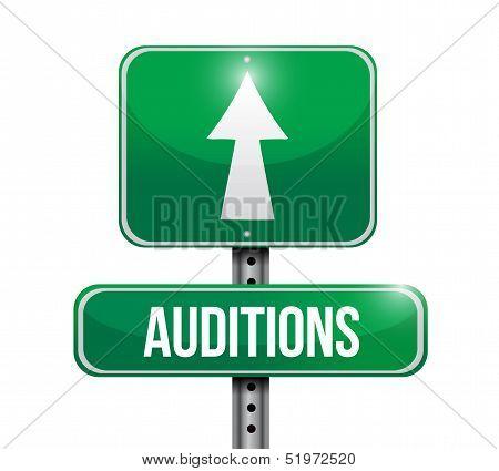 Auditions Road Sign Illustration Design