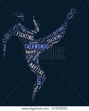 Taekwondo Pictogram With Related Wordings On Blue Background