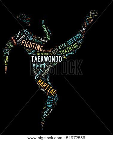 Taekwondo Pictogram With Colorful Related Wordings On Black Background