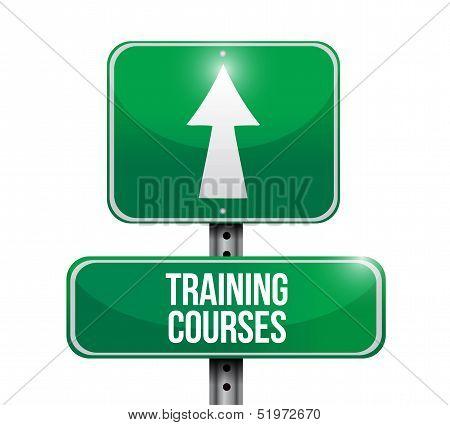 Training Courses Road Sign Illustration Design