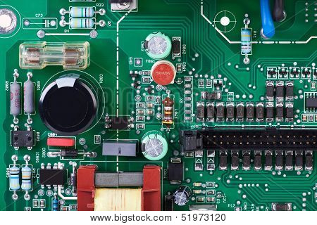 Circuit Board With Many Electronic Components