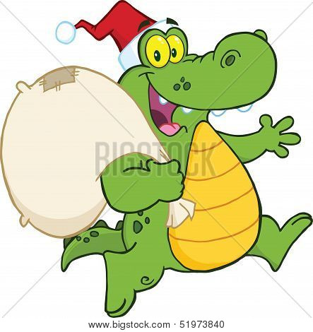 Crocodile Santa Cartoon Character Running With Bag