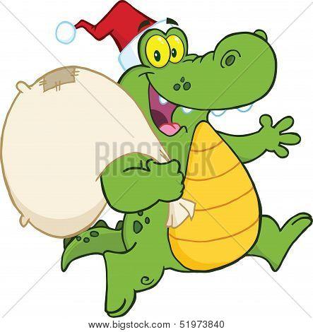 Crocodile Santa Cartoon Character Running With Bag