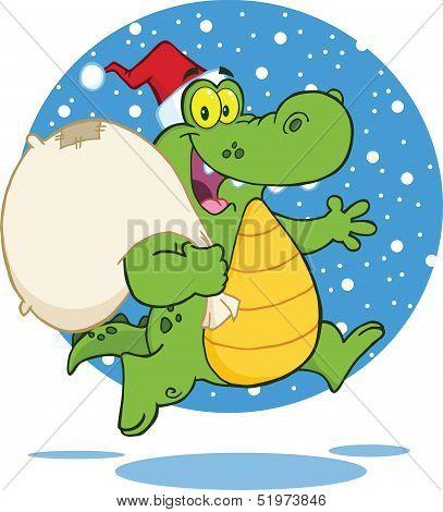Crocodile Santa Character Running With Bag