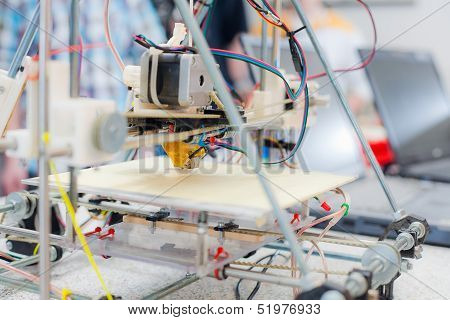 Electronic 3D Plastic Printer During Work In School Laboratory