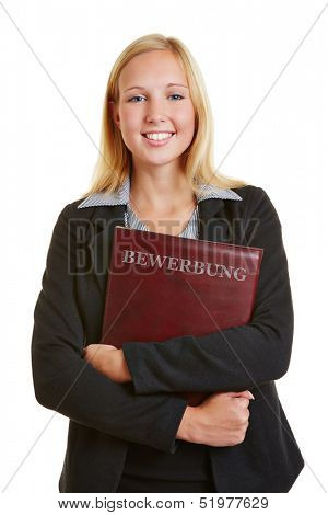 Business woman with portfolio with the German word for