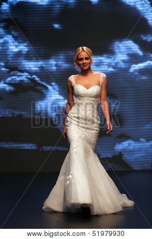 ZAGREB, CROATIA - OCTOBER 04: Fashion model wears dress made by Katjusha on 'Wedding days' show, October 04, 2013 in Zagreb, Croatia.