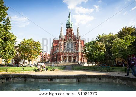 KRAKOW, POLAND - SEP 4: Church St Joseph - a historic Roman Catholic church in south-central part of Krakow, Sep 4, 2013 in Krakow, Poland. Was built 1905-1909 y and designed by Jana Sas-Zubrzyckiego.