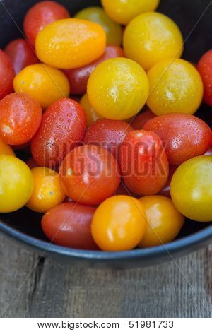 Fresh Juicy Heirloom Tomatoes In Rustic Setting