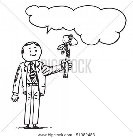 Businessman with tomahawk speaking