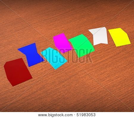 Seven Blank Paper Slips Show Copyspace For 7 Letter Word