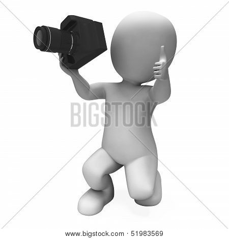 Photography Character Shows Photo Shoot Dslr And Photograph