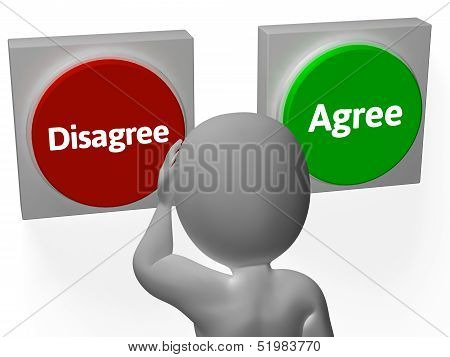 Disagree Agree Buttons Show Voting Or Poll