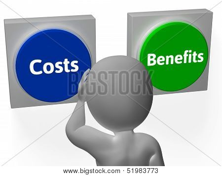 Costs Benefits Buttons Show Value And Analysis