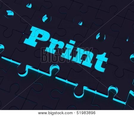 Print Key Shows Printer Printing Copying Or Printout