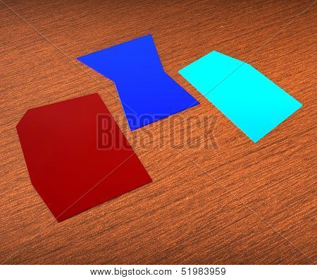Three Blank Paper Slips Show Copyspace For 3 Letter Word