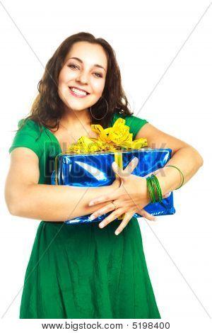 Pretty Woman With A Big Present
