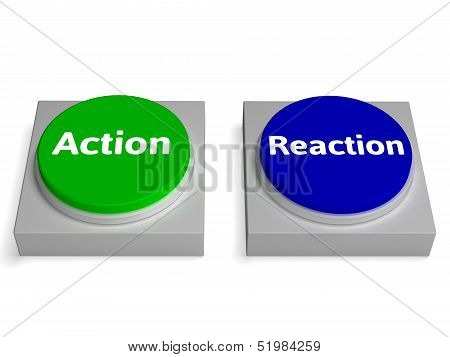 Action Reaction Buttons Shows Acting And Reacting