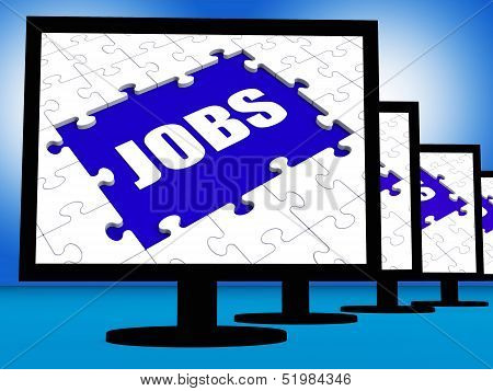 Jobs On Monitors Shows Jobless Employment Or Hiring Online
