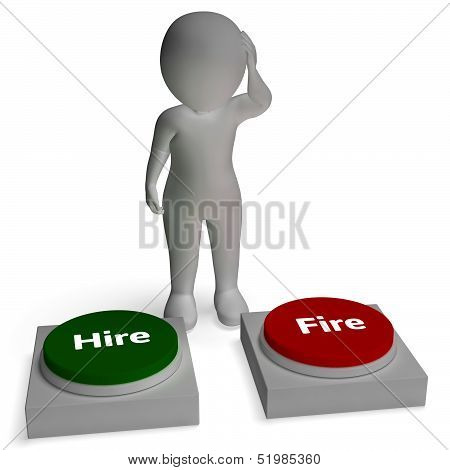 Hire Fire Buttons Shows Employment