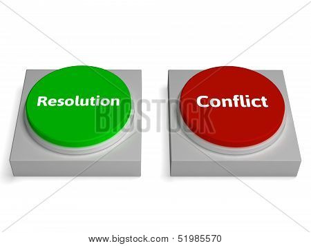 Conflict Resolution Buttons Show Dispute Or Negotiating