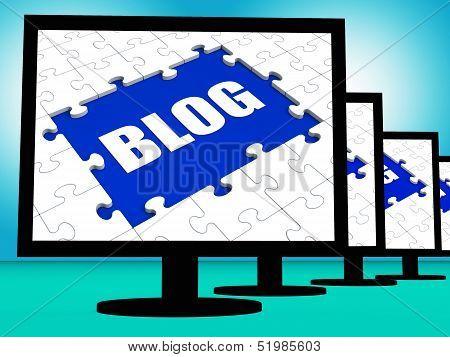 Blog On Monitors Shows Blogging Blogger Or Weblog Online