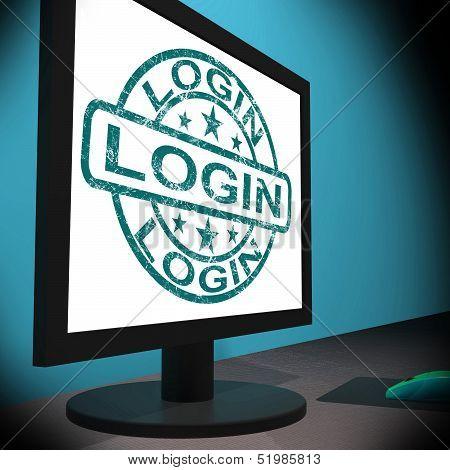 Login Screen Shows Web Internet Log In Security