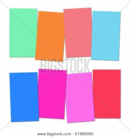 Four Blank Paper Slips Show Copyspace For 4 Letter Words