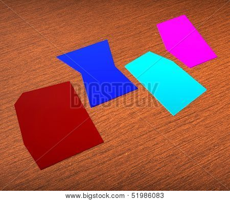 Four Blank Paper Slips Show Copyspace For 4 Letter Word