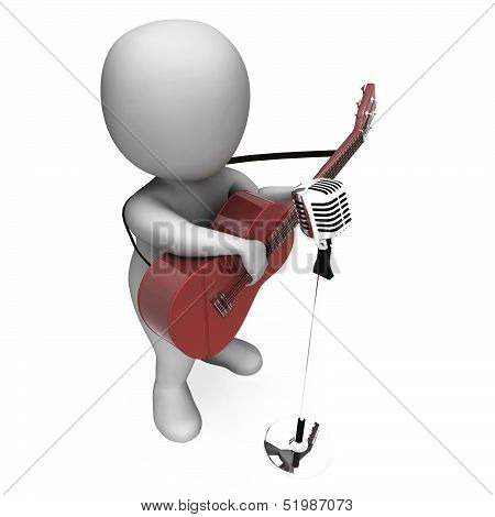 Guitarist Character Shows Strumming Guitar Music On Stage