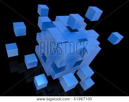 Exploding Blocks Showing Unorganized Puzzle