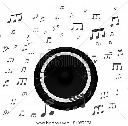 Speaker And Music Notes Shows Soundtrack Disco Or Concert
