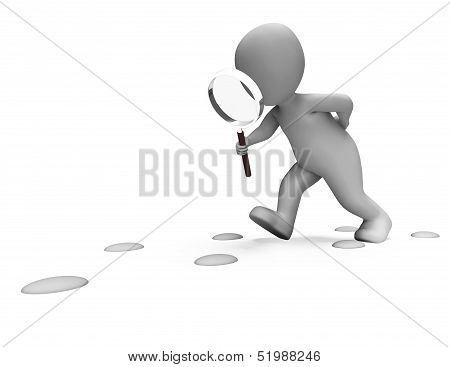 Detective Character Following Footprints Shows Investigate Investigation Or Searching