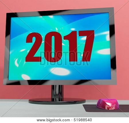Two Thousand And Seventeen On Monitor Shows Year 2017