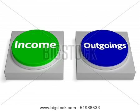 Income Outgoings Buttons Shows Profits Or Expenses