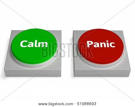 Calm Panic Buttons Show Stressed Or Relaxation