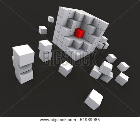 Middle Of Blocks Showing Nucleus